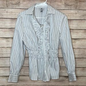 Worrhington Long Sleeve Stretch Button Down Blouse